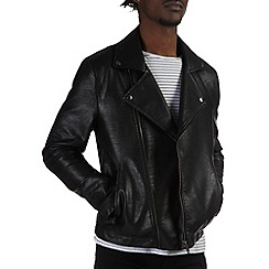 Burton - Leather look asymmetric jacket
