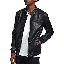 Burton - Black leather look racer bomber jacket