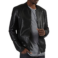 Burton - Black leather look bomber jacket