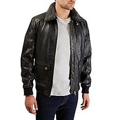 Burton - Black leather aviator jacket