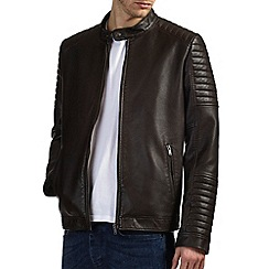 Burton - Brown leather look biker jacket