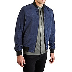 Burton - Montague burton navy real suede bomber jacket