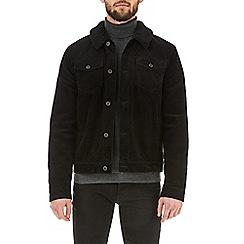 Burton - Black borg collar corduroy trucker jacket