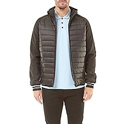 Burton - Black hooded padded jacket with neoprene sleeves