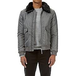Burton - Grey fur collar MA2 bomber jacket