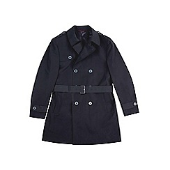 Burton - Black double breasted trench mac