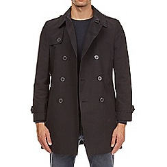 Burton - Navy double breasted trench mac