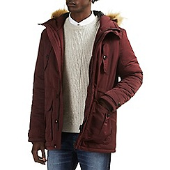 Burton - Burgundy parka with faux fur hood