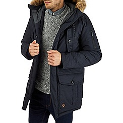 Burton - Navy heavyweight parka coat with faux fur hood