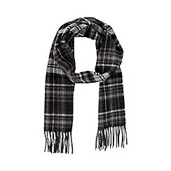 Burton - Grey wool blend check scarf