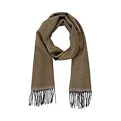 Burton - Khaki wool blend herringbone woven scarf