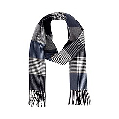 Burton - Navy and grey check wool blend woven scarf