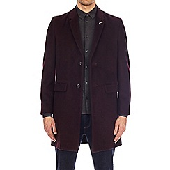 Burton - Burgundy single breasted chesterfield coat