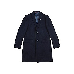 Burton - Navy tailored fit chesterfield coat