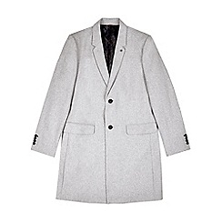 Burton - Light grey tailored fit chesterfield coat