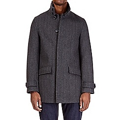 Burton - Charcoal textured single breasted funnel neck coat