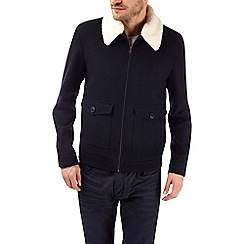 Burton - Navy wool blend borg collar aviator jacket