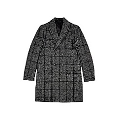 Burton - Grey Prince of Wales check double breasted coat