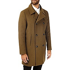 Burton - Olive double breasted wool overcoat