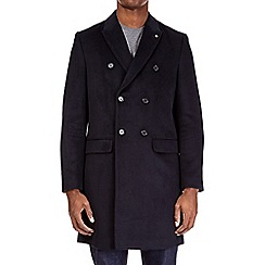 Burton - Navy double breasted chesterfield coat