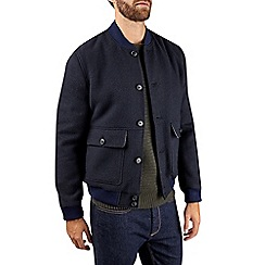 Burton - Navy wool boucle bomber jacket