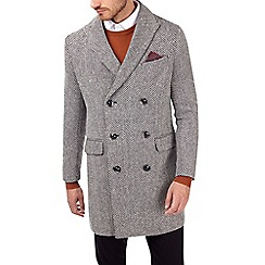 Burton - Montague Burton monochrome herringbone wool overcoat