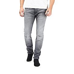 Burton - Grey slim fit washed rip and repair jeans