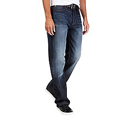 Burton - Relaxed blue coated belted jeans