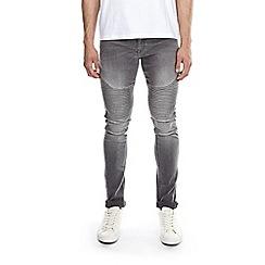 Burton - Grey super skinny fit biker jeans
