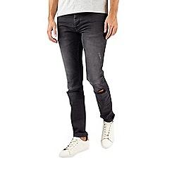 Burton - Grey skinny fit rip and repair jeans