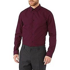 Burton - Slim burgundy plain shirt