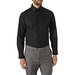 Burton - Tailored fit black plain shirt