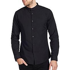 Burton - Black smart grandad shirt