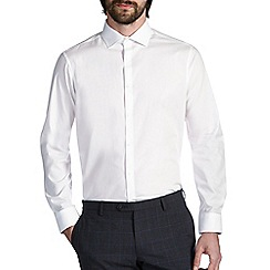 Burton - White tailored cotton cutaway collar shirt