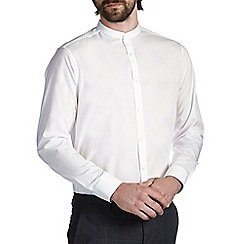 Burton - White tailored cotton grandad collar shirt