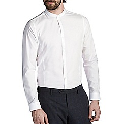 Burton - White skinny cotton grandad collar shirt