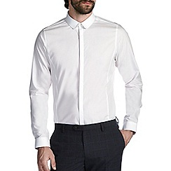 Burton - White skinny cotton penny collar shirt