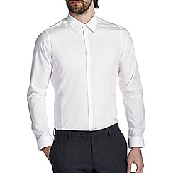Burton - White skinny cotton spread collar shirt
