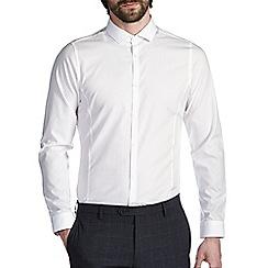 Burton - White skinny cotton cutaway collar shirt