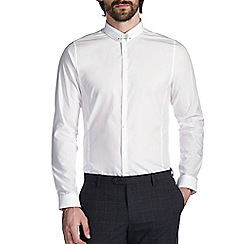 Burton - White skinny cotton pin collar shirt