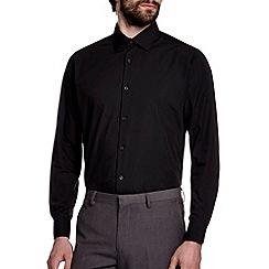 Burton - Tailored fit black plain shirt