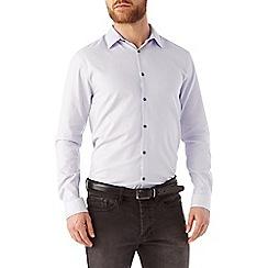 Burton - Slim fit grey herringbone shirt