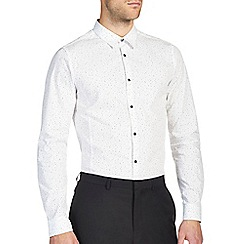 Burton - White smart print skinny fit shirt