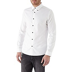 Burton - Long sleeve white contrast button slim shirt