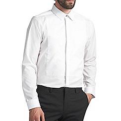 Burton - Slim white textured bib shirt