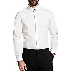 Burton - Skinny white textured collar shirt