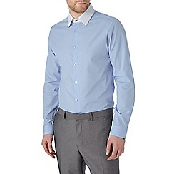 Burton - Slim fit blue shirt with white collar
