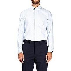 Burton - White tailored fit dobby twill double cuff shirt