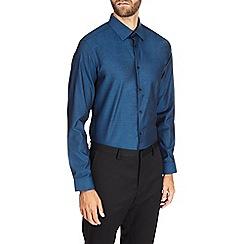 Burton - Dark petrol slim textured shirt