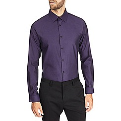 Burton - Dark purple slim textured shirt